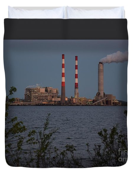 Duvet Cover featuring the photograph Power Plant At Dusk by Mark McReynolds