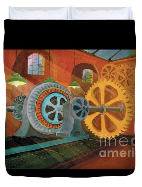 Duvet Cover featuring the painting Power Plant Turbines by Donna Hall