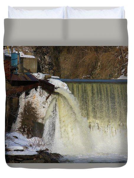 Power Station Falls On Black River One Duvet Cover