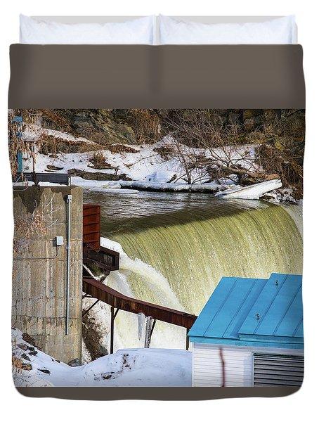 Power Station Falls On Black River Two Duvet Cover