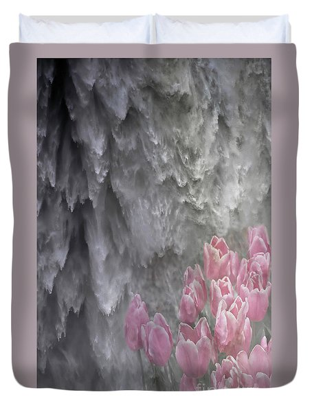 Powerful And Gentle Waterfall Art  Duvet Cover by Valerie Garner