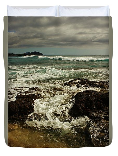 Powerful Winter Waves Duvet Cover by Craig Wood