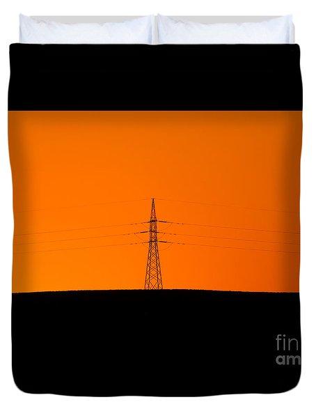 Powerline Sunset Silhouette Duvet Cover by Bill  Robinson