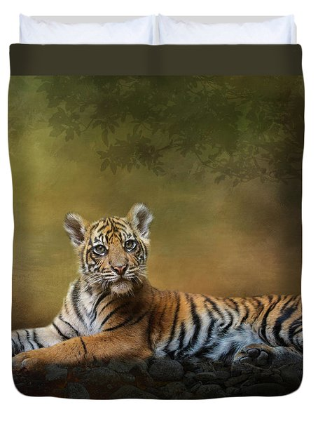 Duvet Cover featuring the digital art Practicing My Big Kitty Stare by Nicole Wilde