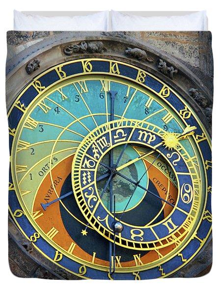 Prague Astronomical Clock Duvet Cover by Mariola Bitner