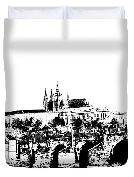Prague Castle And Charles Bridge Duvet Cover by Michal Boubin