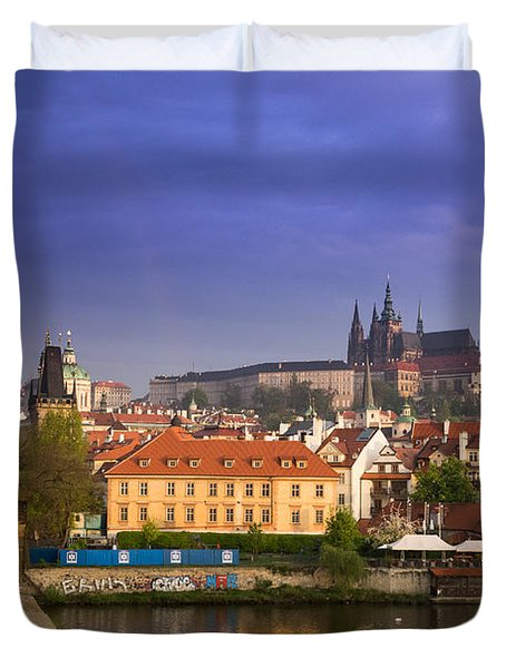 Prague Castle From Charles Bridge Duvet Cover