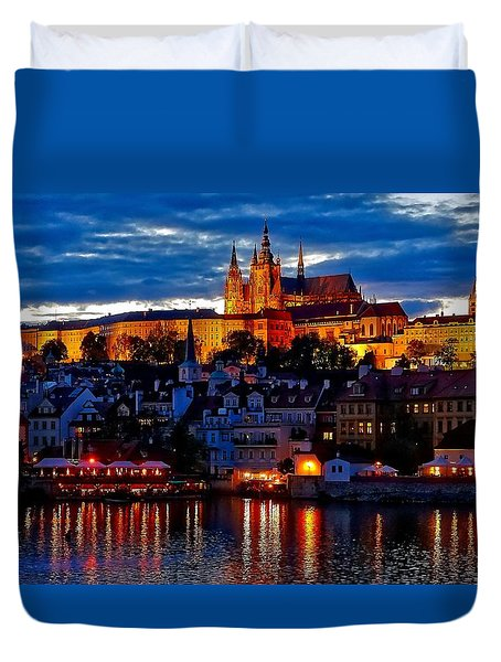 Prague Castle In The Evening Duvet Cover