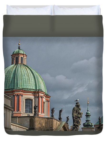 Duvet Cover featuring the photograph Prague Church Dome by Stuart Litoff