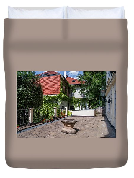 Duvet Cover featuring the photograph Prague Courtyards by Jenny Rainbow