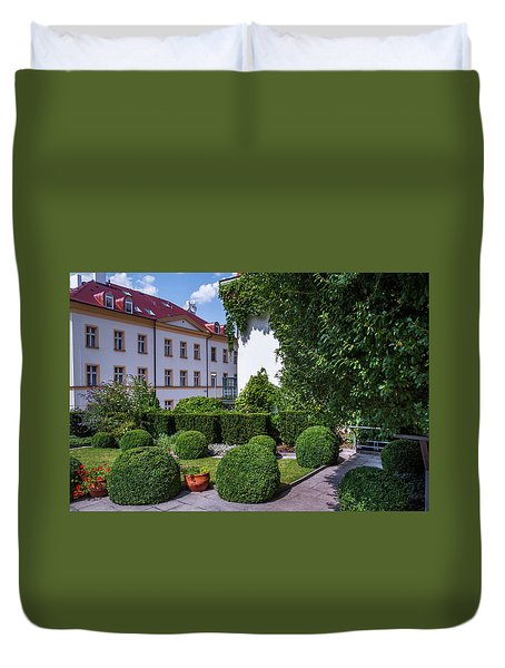 Duvet Cover featuring the photograph Prague Courtyards. Regular Style Garden by Jenny Rainbow