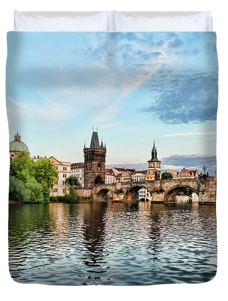 Prague From The River Duvet Cover