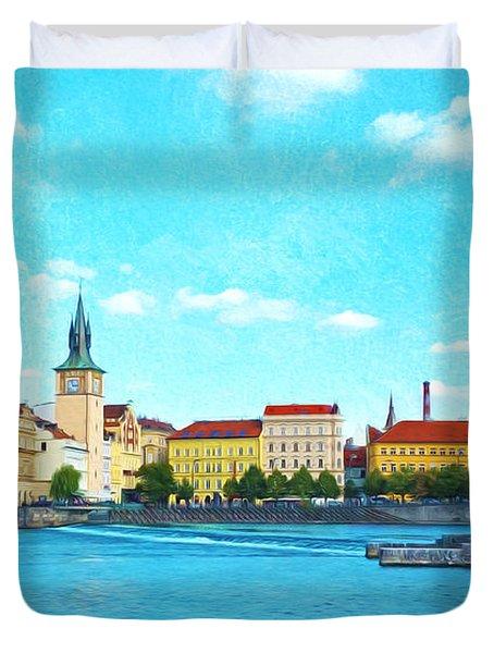 Prague From Vltava River Duvet Cover