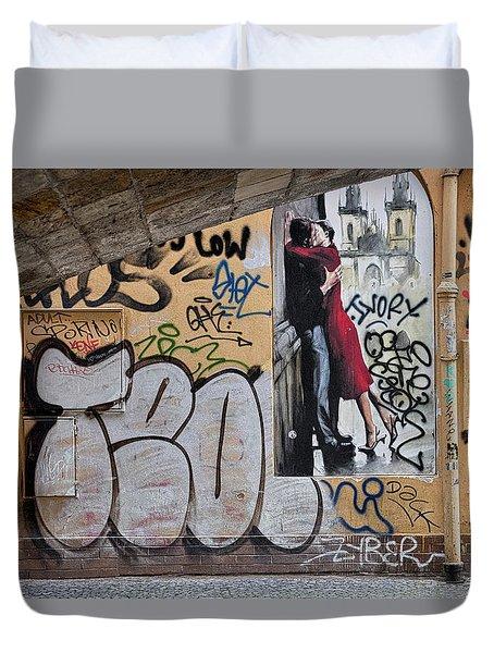 Duvet Cover featuring the photograph Prague Graffiti And Wall Art by Stuart Litoff