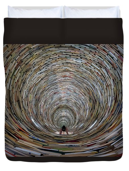 Duvet Cover featuring the photograph Prague Library Book Tower by Stuart Litoff