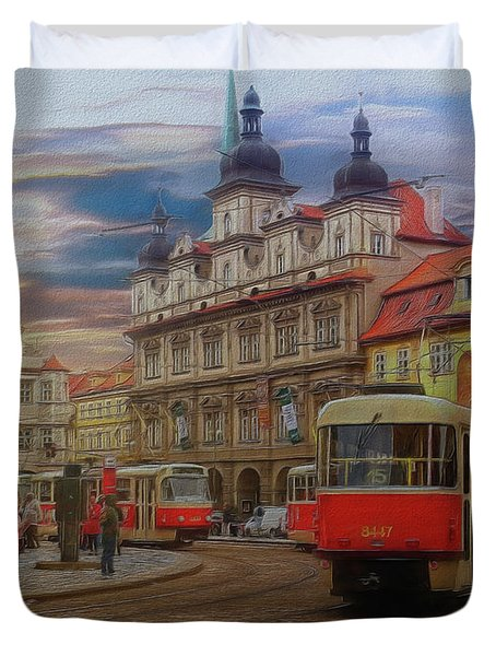 Prague, Old Town, Street Scene Duvet Cover