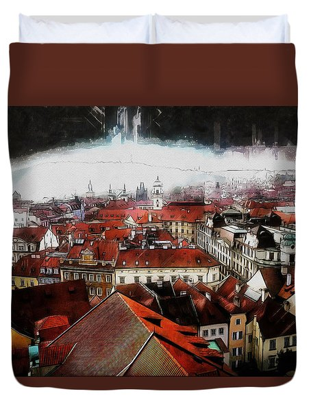 Duvet Cover featuring the painting Prague Skyline by Kai Saarto