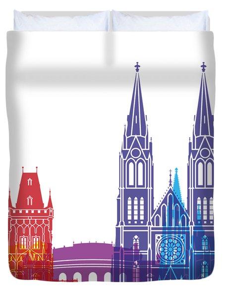 Prague Skyline Pop Duvet Cover