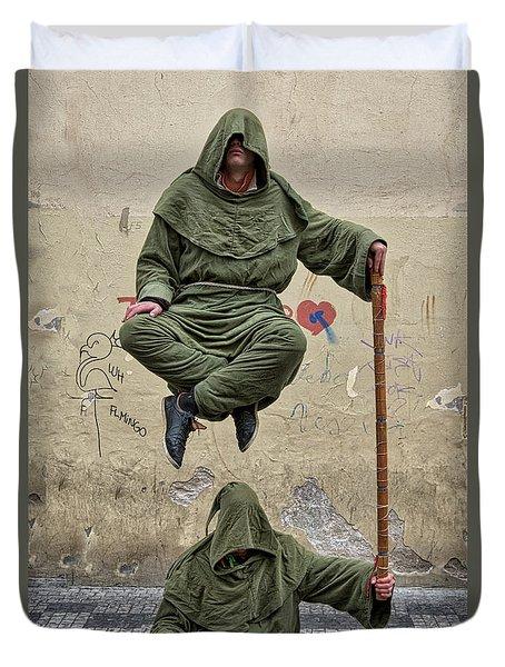 Duvet Cover featuring the photograph Prague Street Performer by Stuart Litoff