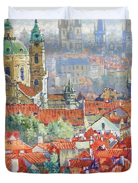 Prague Summer Panorama 1 Duvet Cover