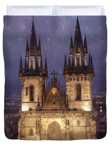 Prague.  Tyn Church Duvet Cover