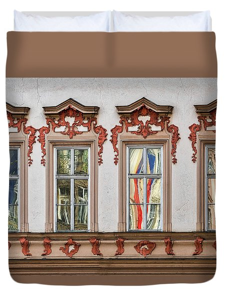 Duvet Cover featuring the photograph Prague Window Reflections by Stuart Litoff