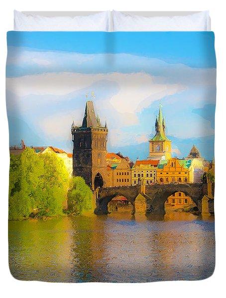 Praha - Prague - Illusions Duvet Cover