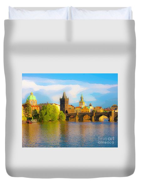 Duvet Cover featuring the photograph Praha - Prague - Illusions by Tom Cameron
