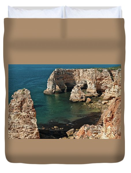 Praia Da Marinha Cliffs And Sea Duvet Cover