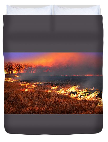 Prairie Burn Duvet Cover by Rod Seel