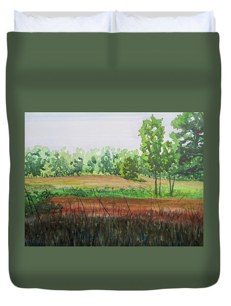 Prairie Grass Field Duvet Cover by Bethany Lee