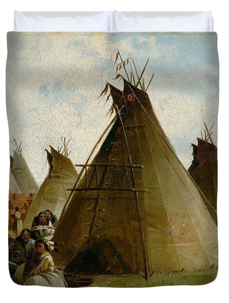 Prairie Indian Encampment Duvet Cover
