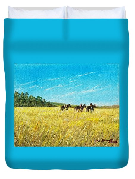Duvet Cover featuring the painting Prairie Journey by Kathleen McDermott