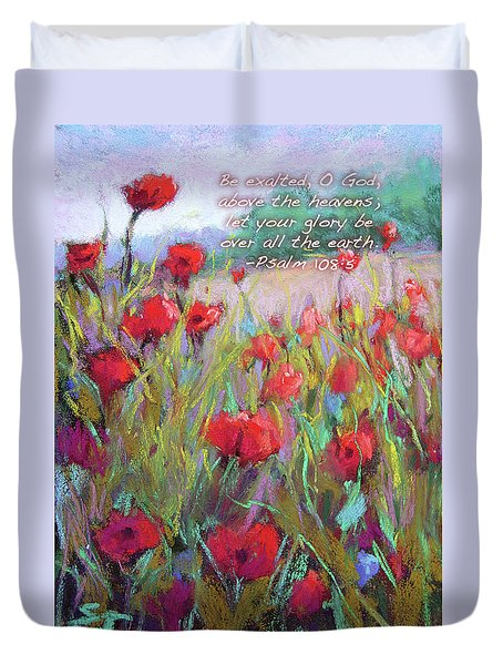 Praising Poppies With Bible Verse Duvet Cover
