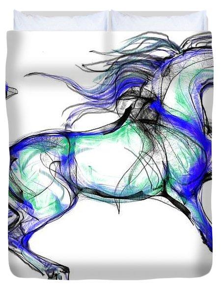 Prancing Arabian Horse Duvet Cover