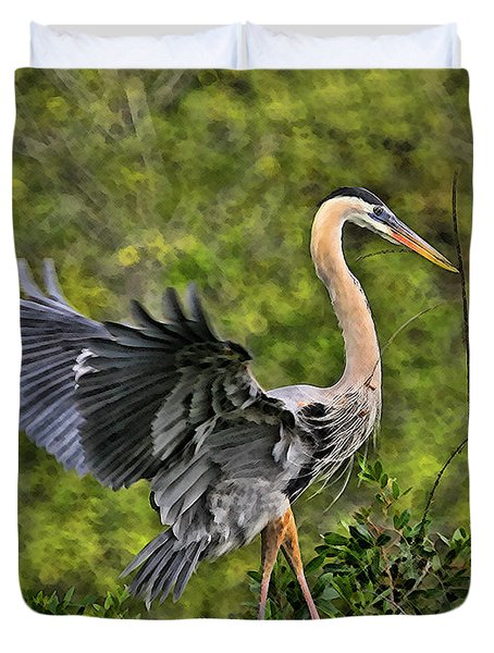 Duvet Cover featuring the photograph Prancing Heron by Shari Jardina