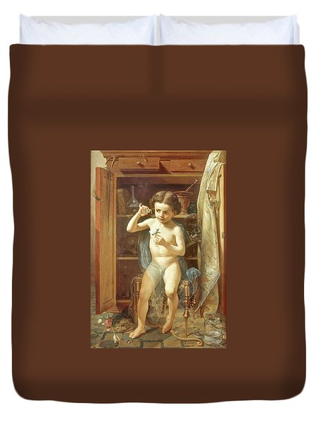 Duvet Cover featuring the painting Pranks Of Love by Manuel Ocaranza