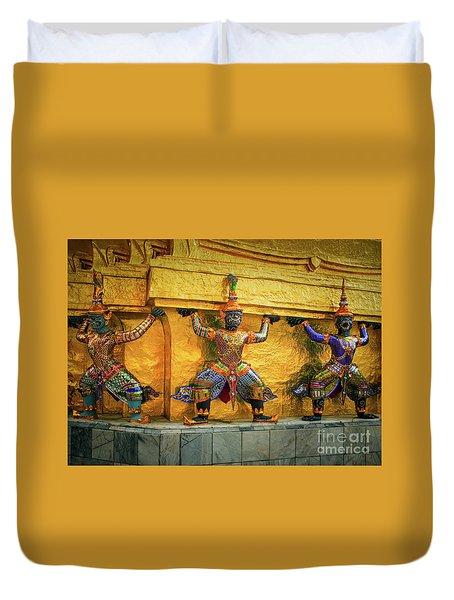 Prasatphradhepbidorn Golden Wall Duvet Cover by Inge Johnsson