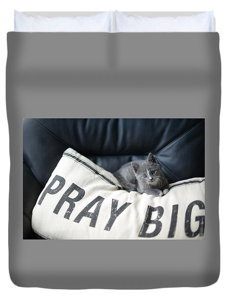 Duvet Cover featuring the photograph Pray Big by Linda Mishler