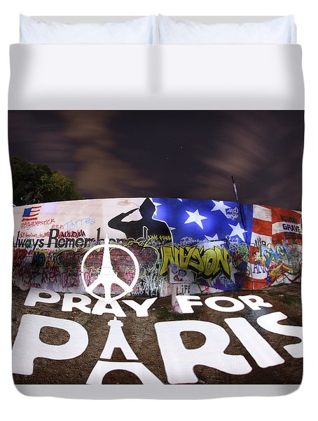 Pray For Paris Duvet Cover