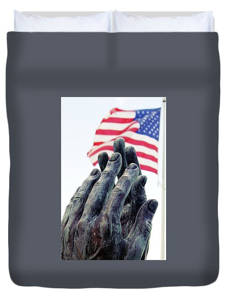 Pray For The Usa Duvet Cover