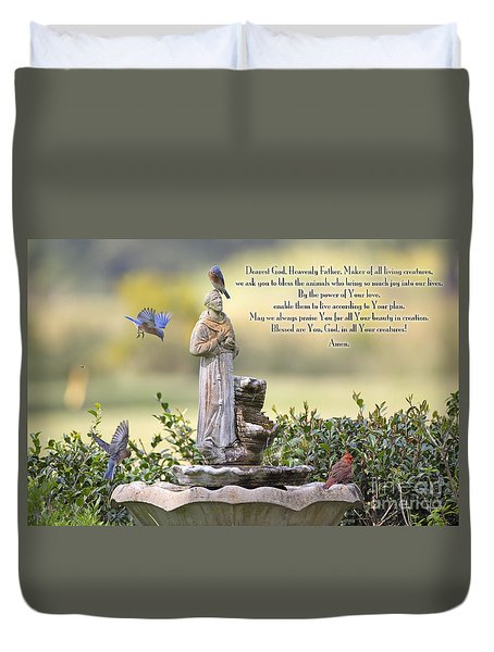 Prayer For The Animals That Bless Our Lives Duvet Cover by Bonnie Barry
