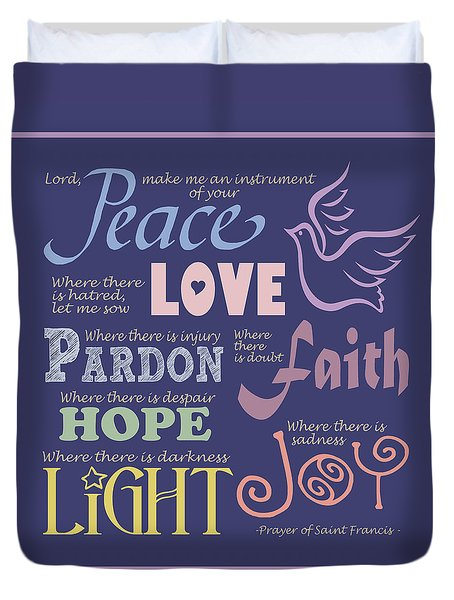 Prayer Of St Francis - Square Pastel Typographic Duvet Cover