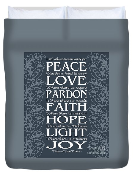 Prayer Of St Francis - Victorian Blue Grey Duvet Cover