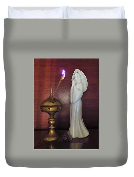 Duvet Cover featuring the photograph Prayer Petition by Denise Fulmer