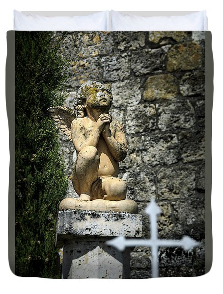 Praying Angel In Auvillar Cemetery Duvet Cover by RicardMN Photography