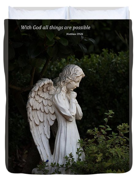 Praying Angel With Verse Duvet Cover