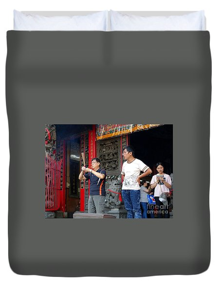 Duvet Cover featuring the photograph Praying At A Temple In Taiwan by Yali Shi