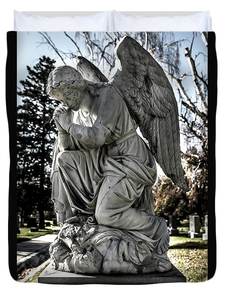 Duvet Cover featuring the photograph Praying Cemetery Angel  by Gary Whitton