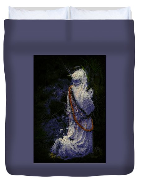 Praying Duvet Cover by Lori Seaman